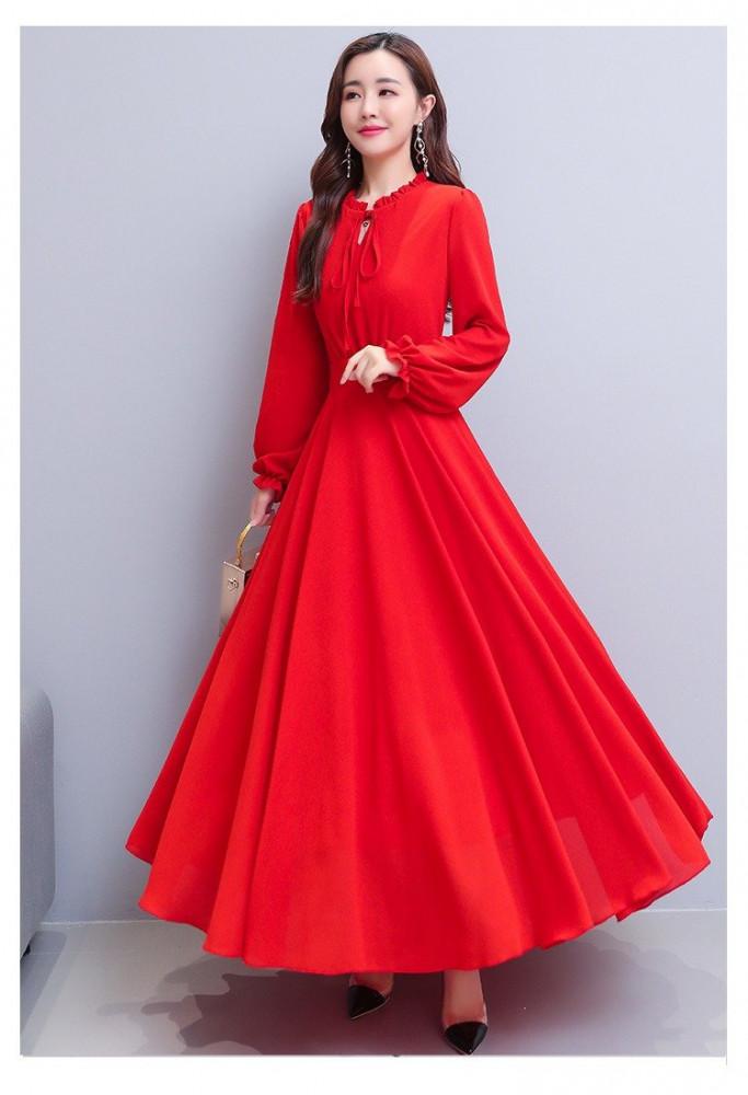 فستان شيفون طويل أحدث ستايلات خريف 2020