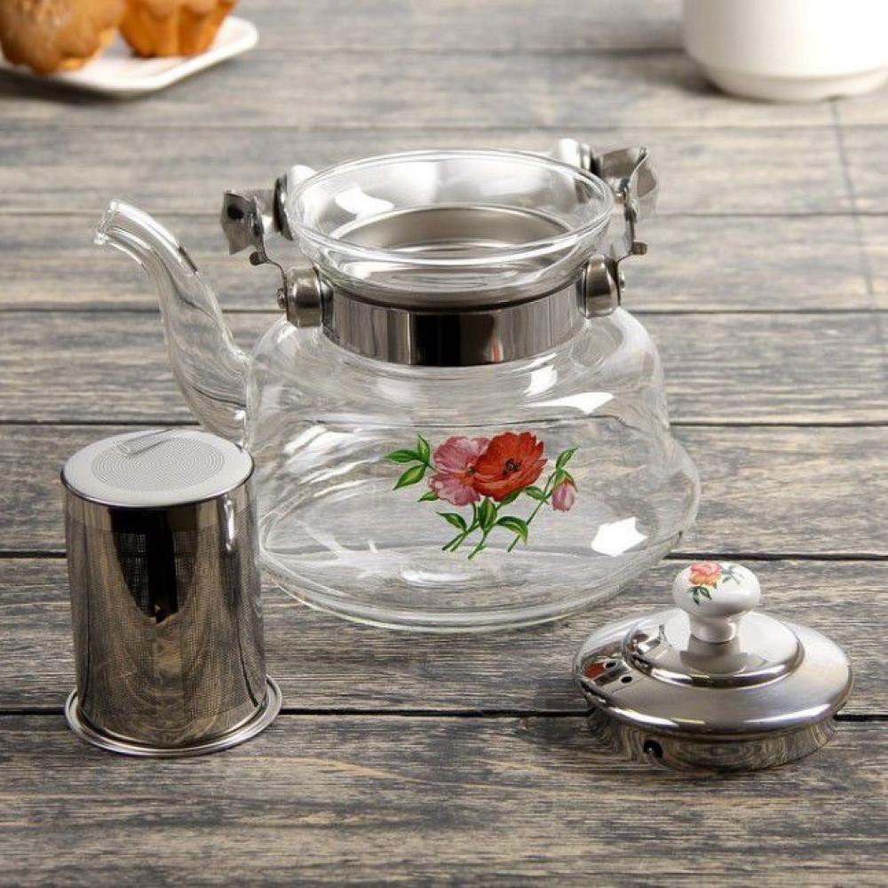 ابريق تقديم وغلاية قهوة وشاي مصنوع من الزجاج والسيراميك