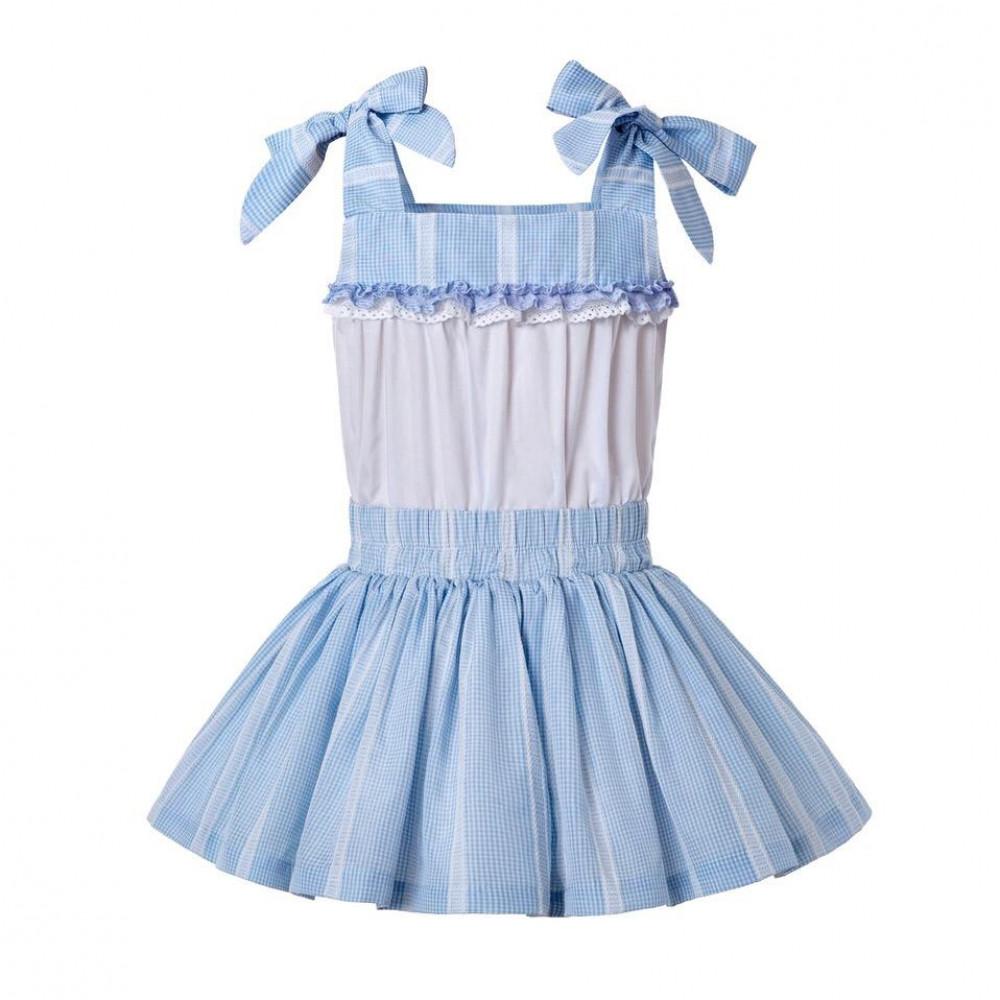 فستان سماوي كاروهات بكم فيونكه