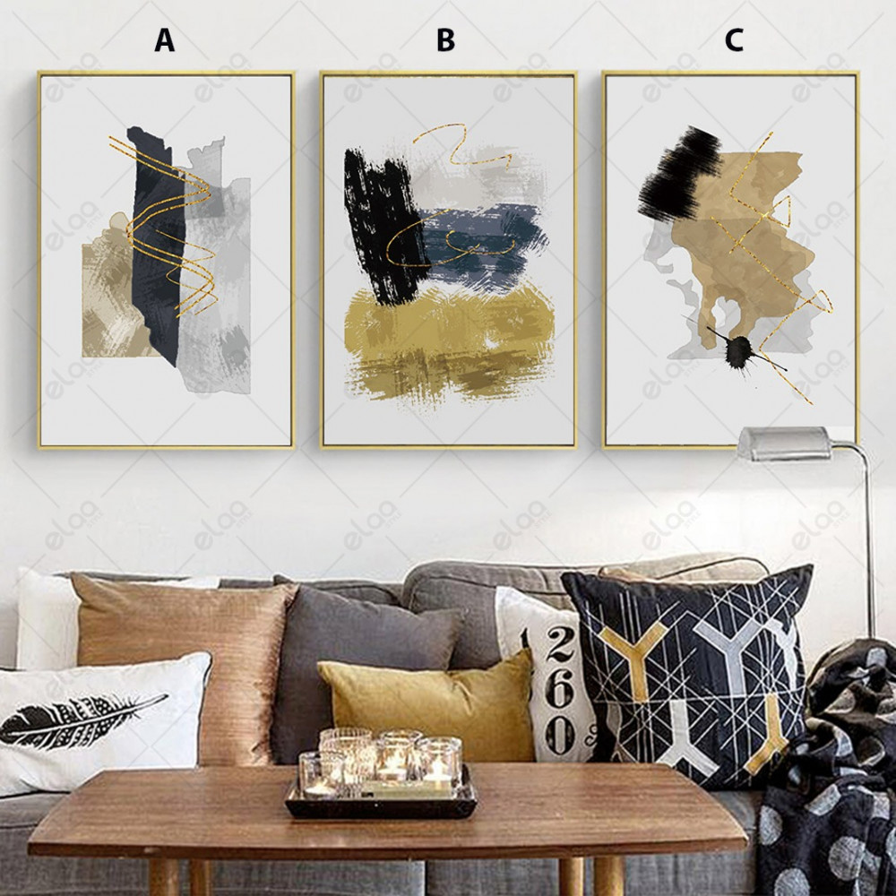 لوحات فن تجريدي مبتكرة بالالوان الذهبي والاسود والابيض والرمادي