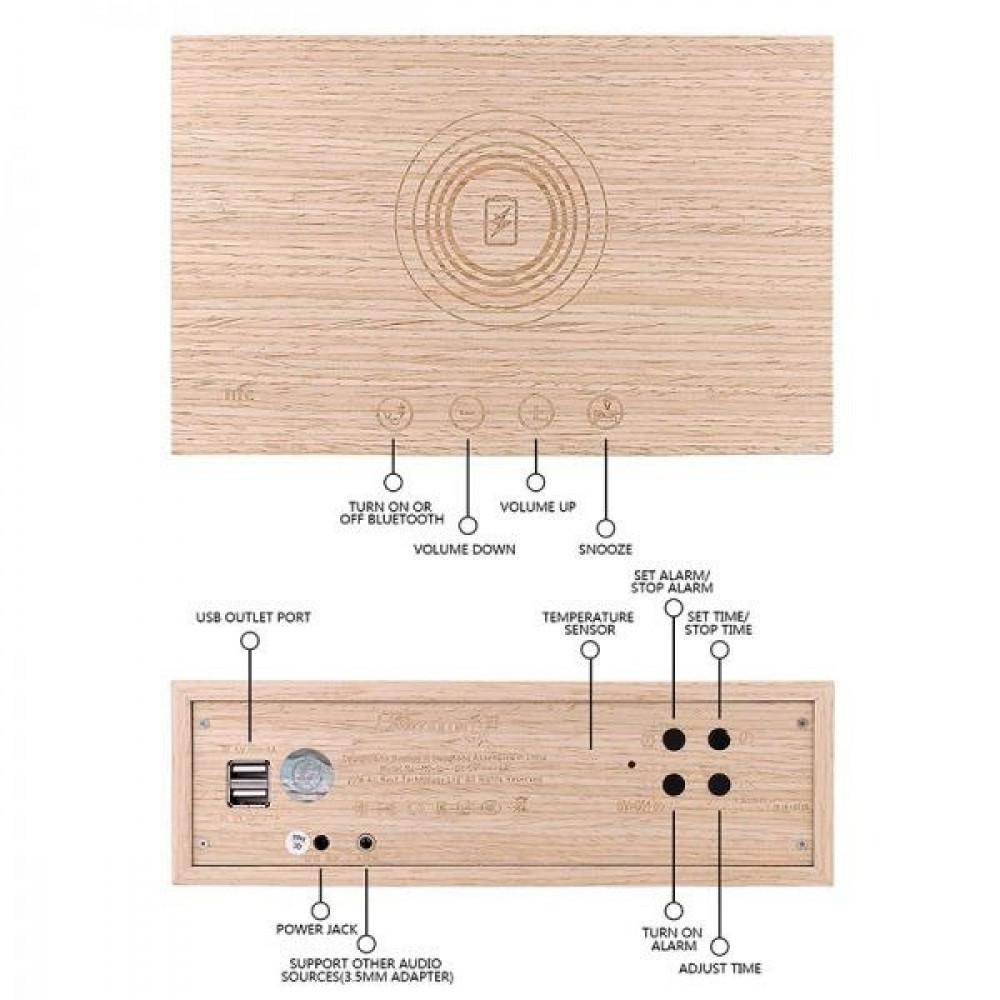 سماعة هوم تايم - سماعة بلوتوث خشبية و منبه