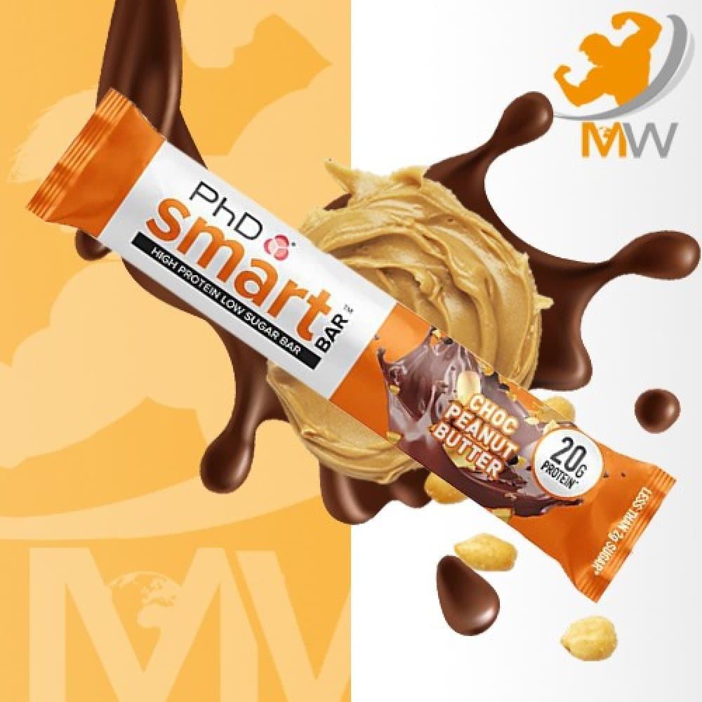 سمارت بروتين بار شوكولاته فول سوداني phd smart bar chocolate peanut bu