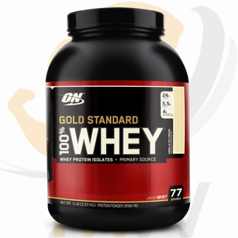 عالم العضلات مكملات غذائية بروتين أون قولد ستاندر واي فراولة 5 باوند O