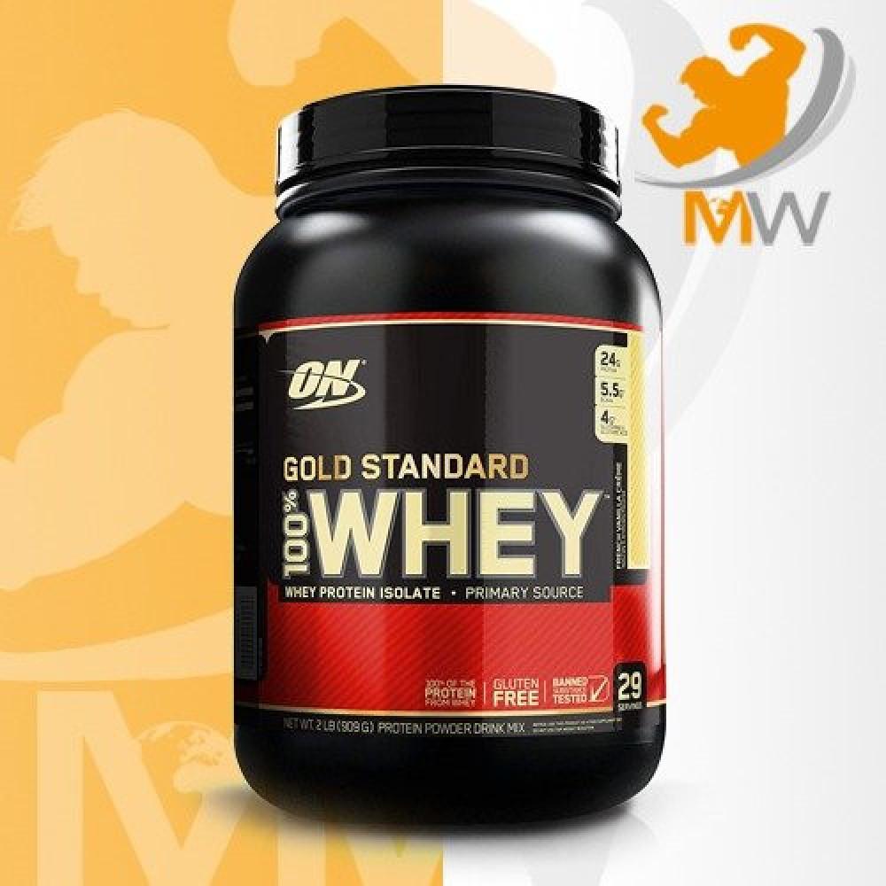 عالم العضلات مكملات غذائية بروتين أون قولد ستاندر واي فراولة 2 باوند O