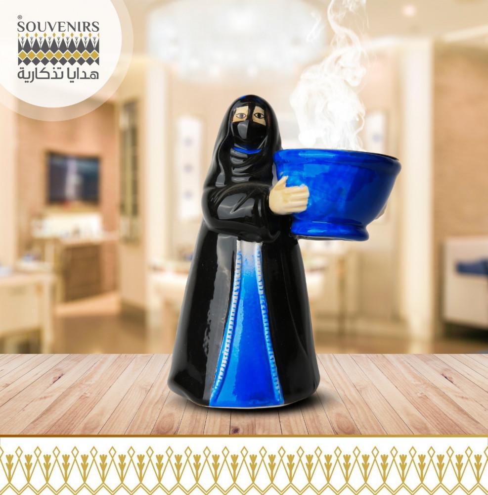 مبخرة سيراميك مجسم ام خماس ازرق