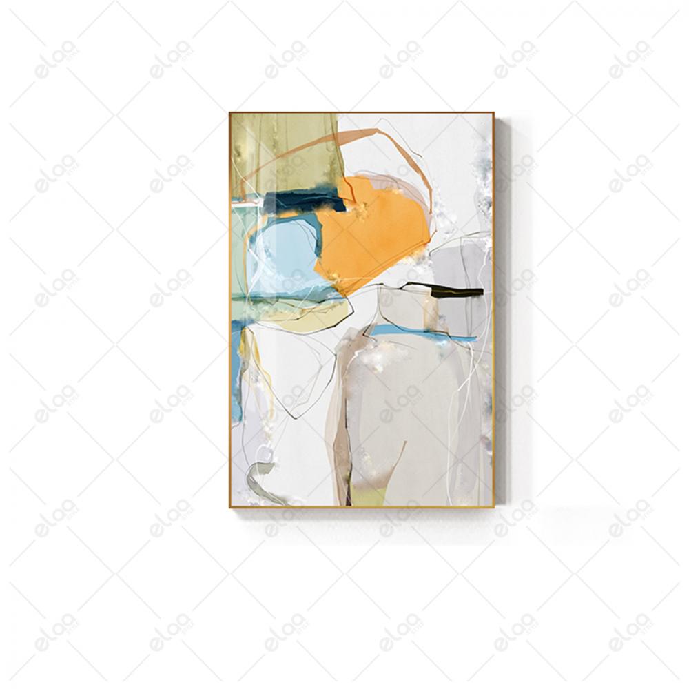 لوحة فن تجريدي بخليط من الالوان بخلفية بيضاء