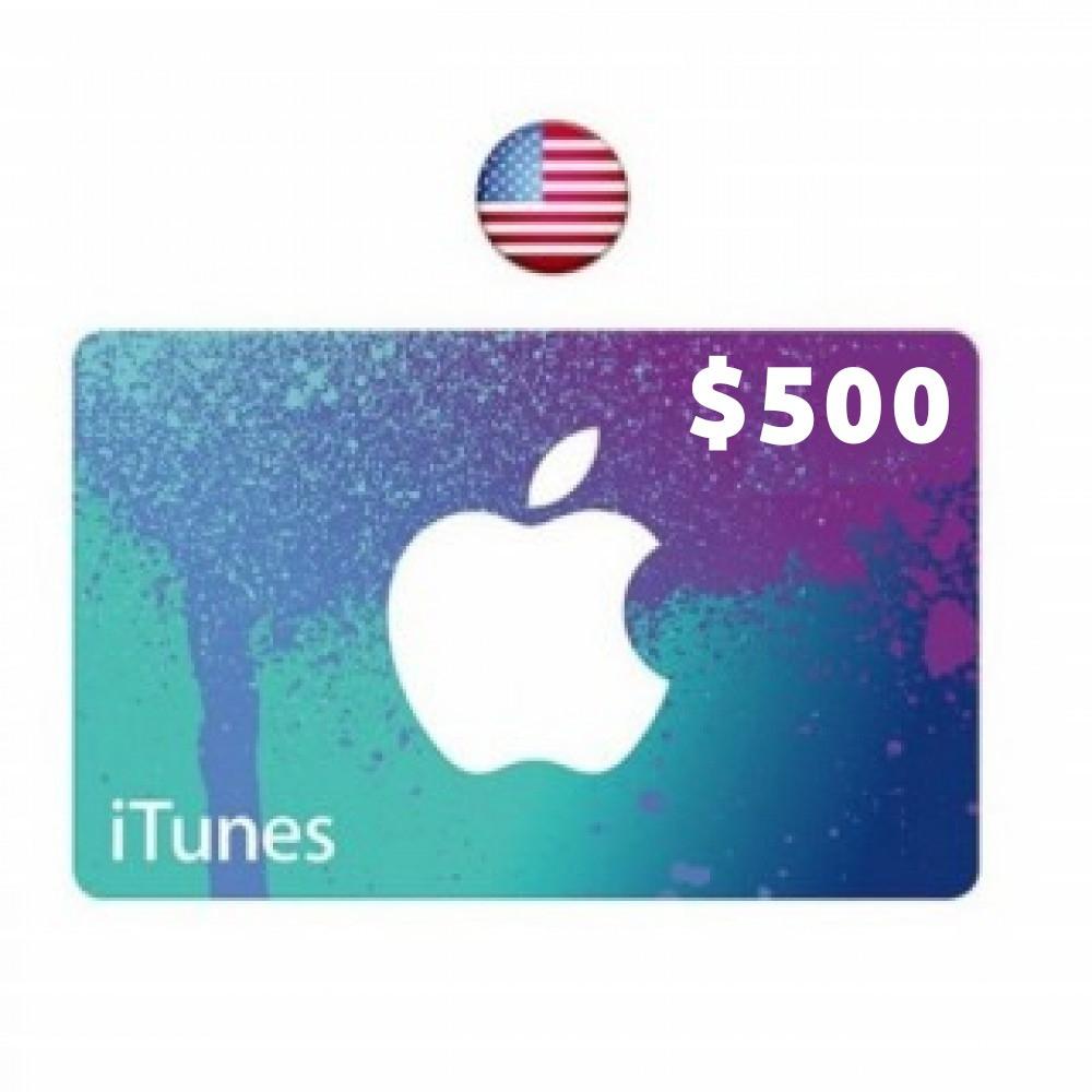 itunes gift card 500 dollar usa