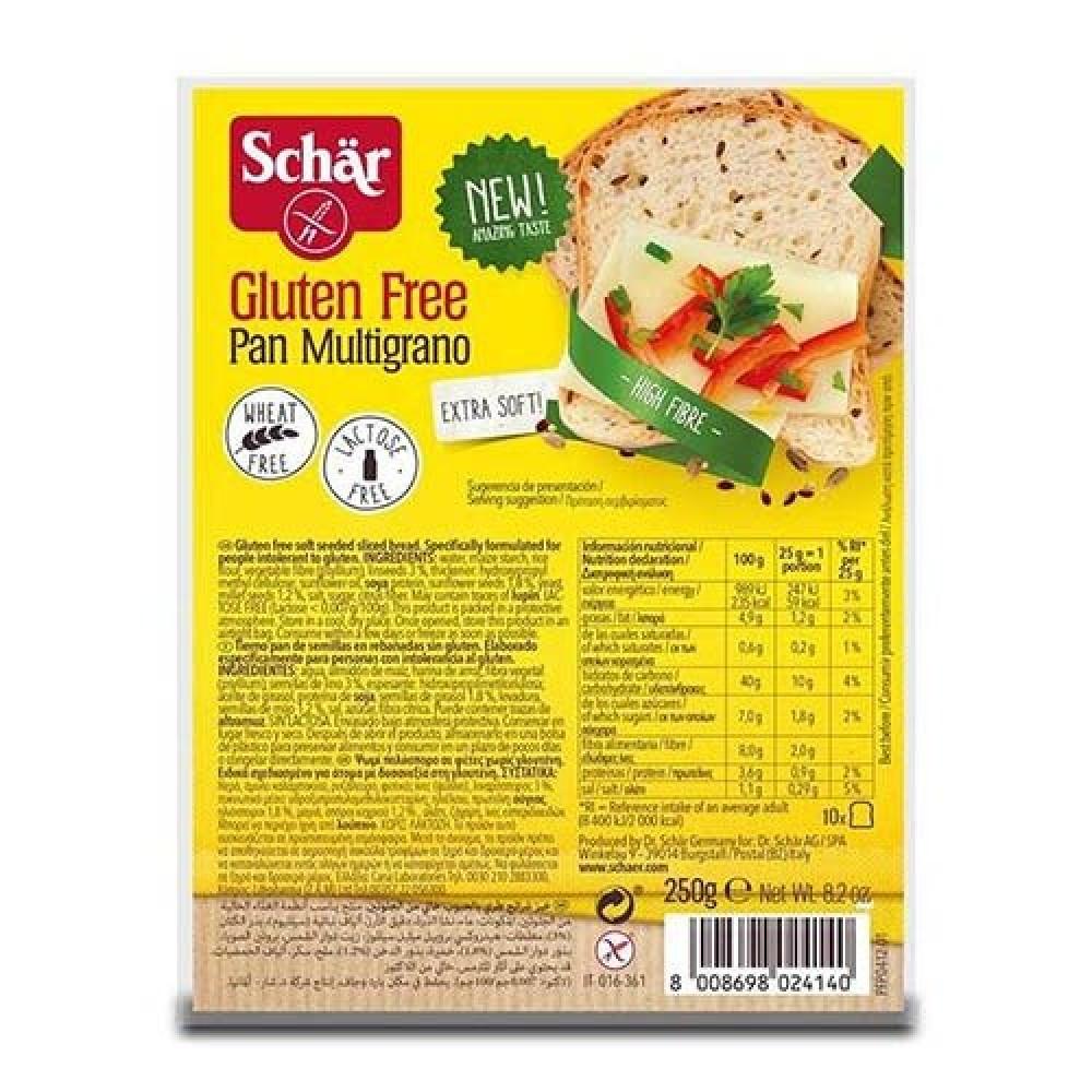 خبز شرائح طري بالحبوب خالي من الجلوتين 250 جرام