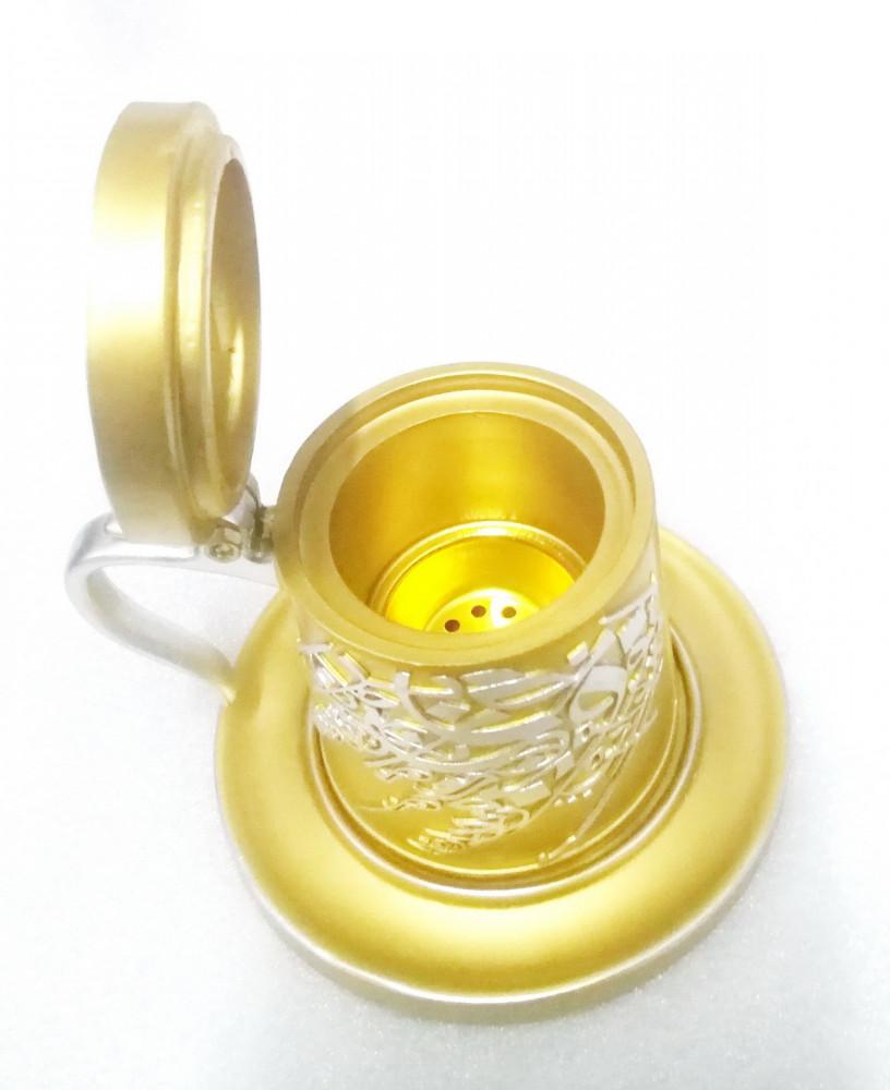 مبخرة من الخزف بتصميم كوب لون ذهبي
