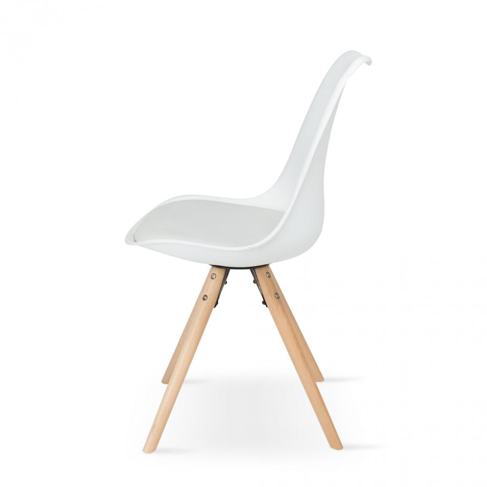 زاوية جانبية للكرسي في متجر مواسم للأثاث من طقم كراسي موديل مودرن أبيض