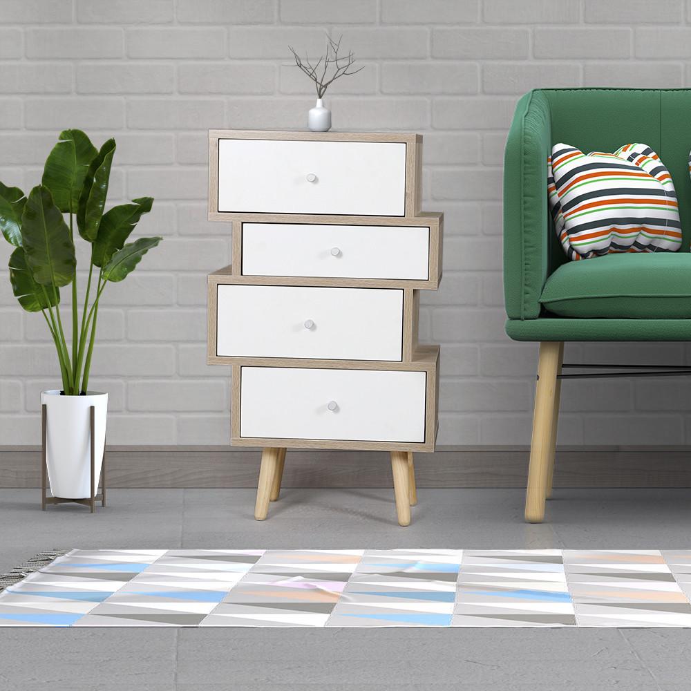 طاولة جانبية موديل فور خشب بأربعة أدراج تخزين لون أبيض وخشبي