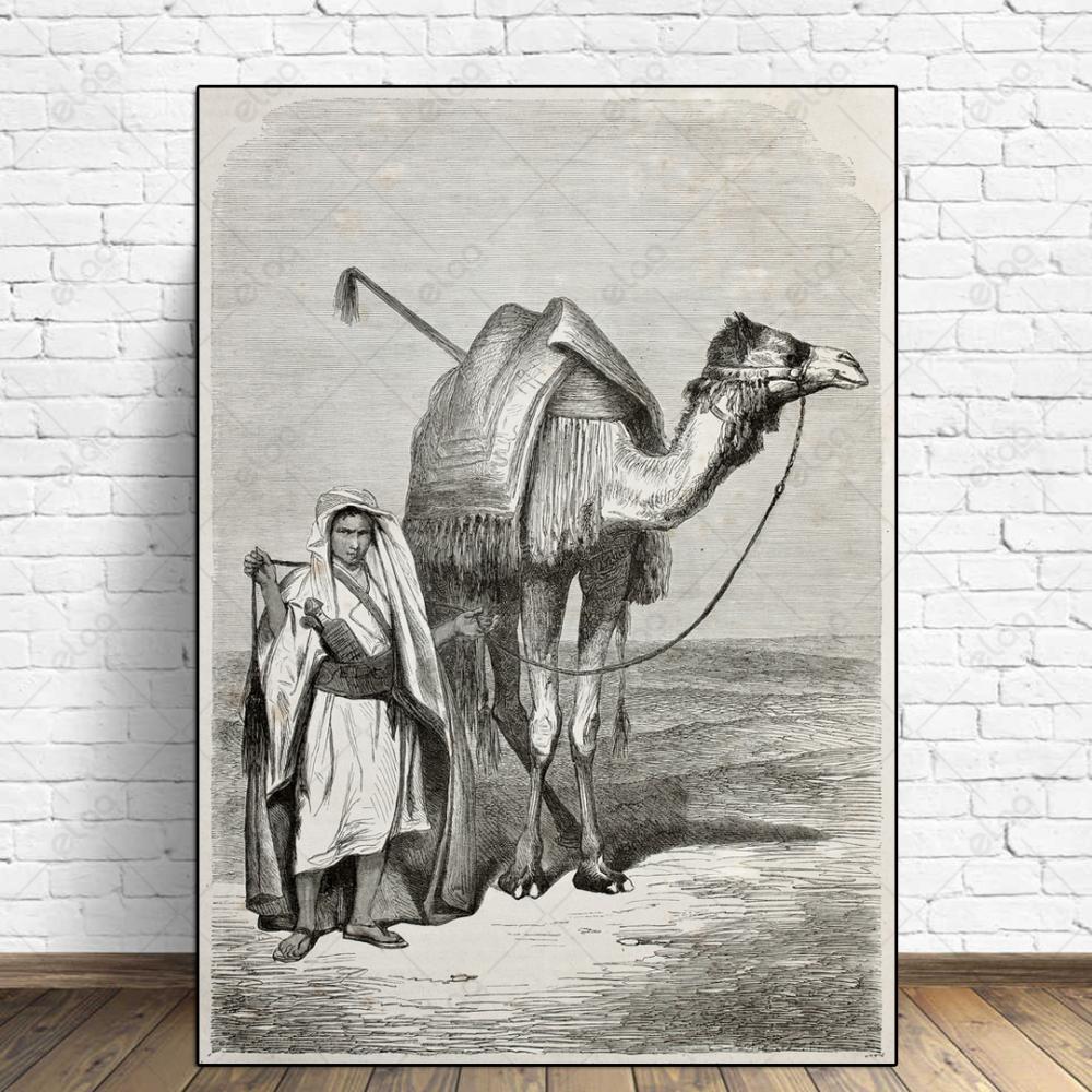 لوحة فنية البادية العربية حصان ورجل