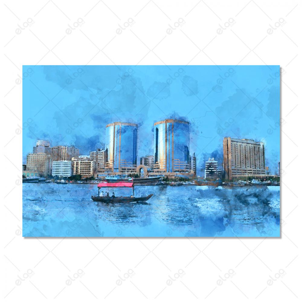 فن تجريدي المدينة والبحر