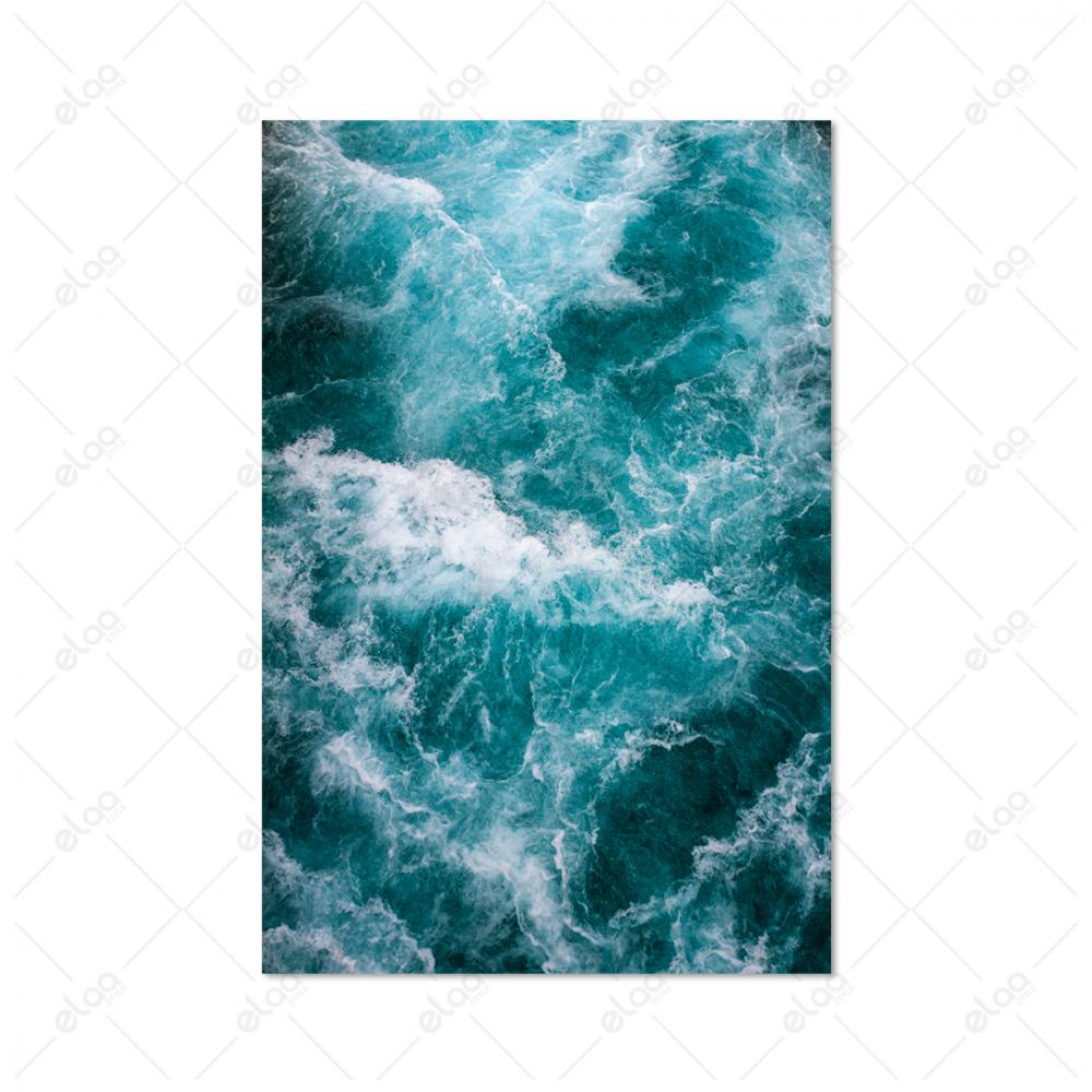 لوحة منظر طبيعي لامواج البحر باللون المحيطي
