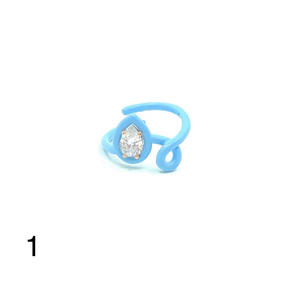 خاتم حلزوني 2 فضه ملونه عيار 925