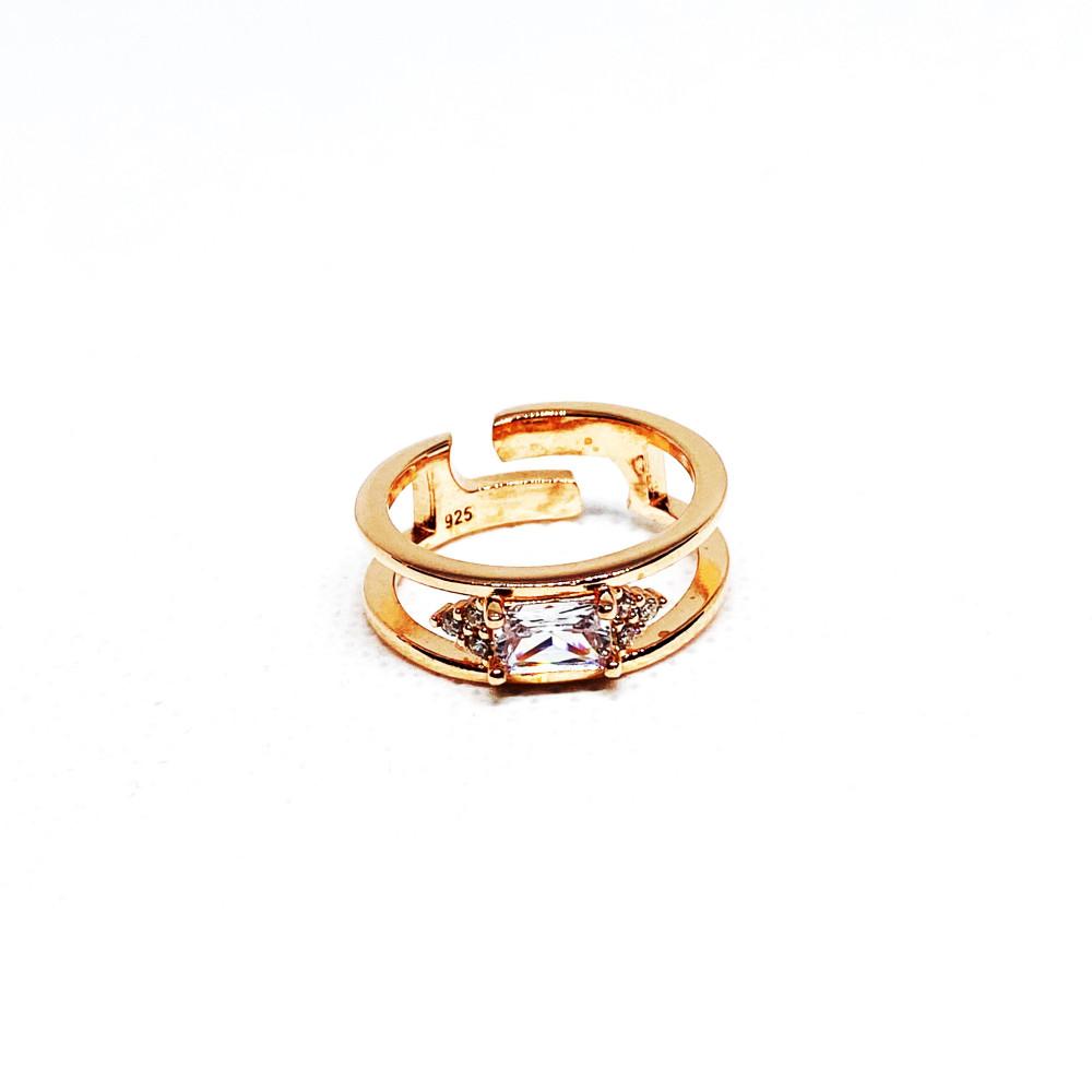 خاتم فضه عيار 925 مطليه بالذهب ومرصعه بالزركون