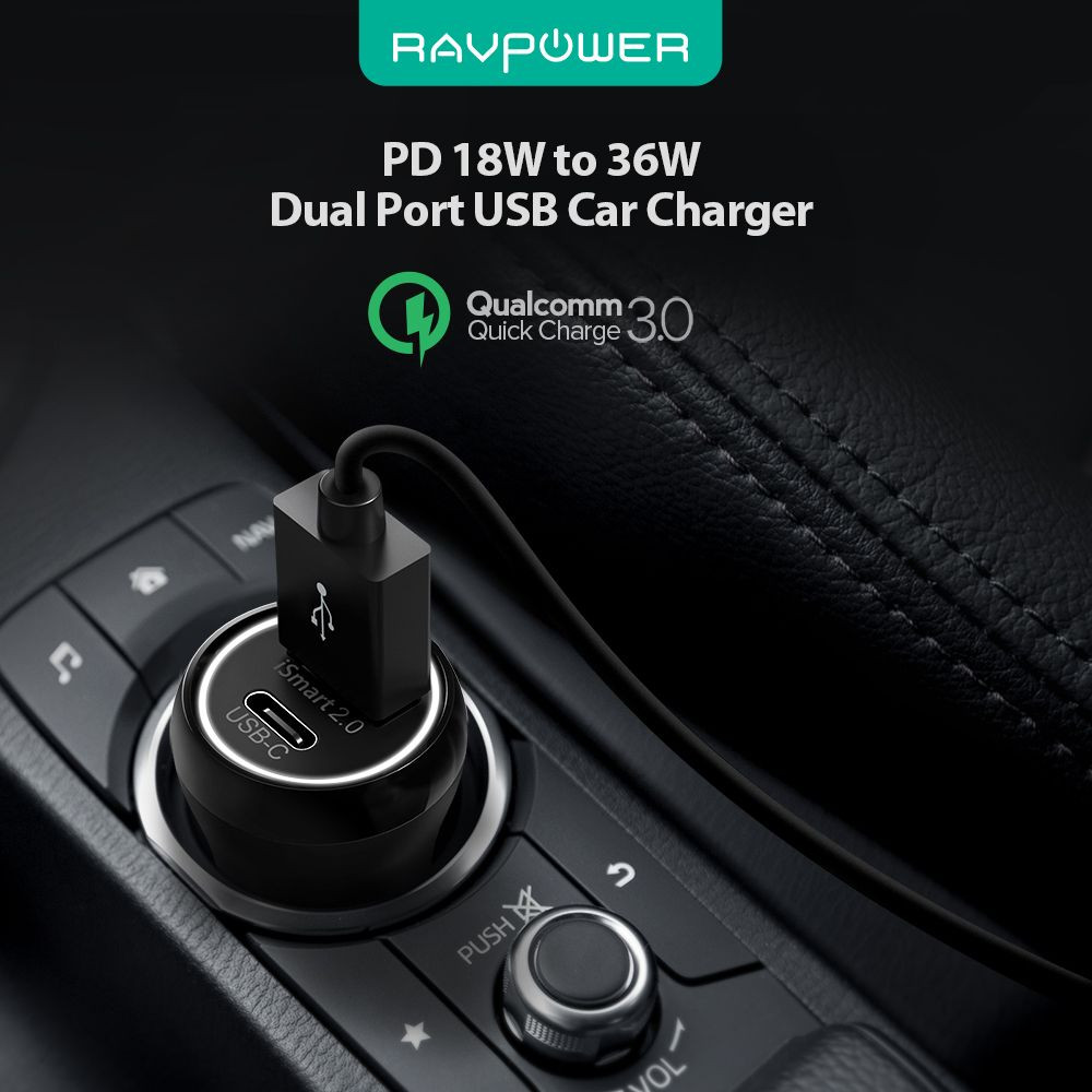 Ravpower Car Charger 36W PD and QC3