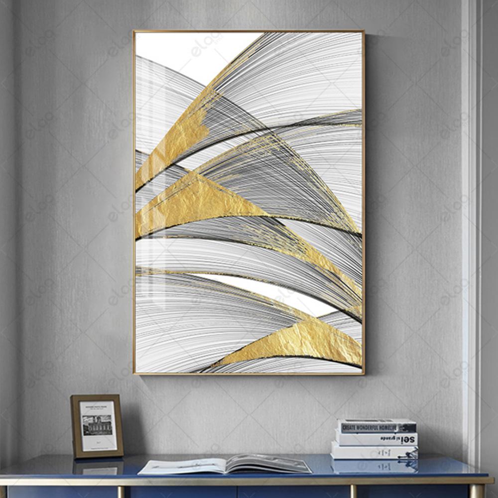 لوحة فن تجريدي خطوط باللون الرمادي والذهبي