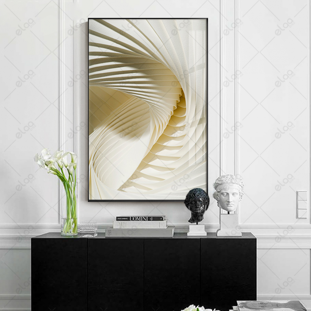 لوحة فنية مبتكرة ثلاثي الابعاد بدرجات اللون الابيض