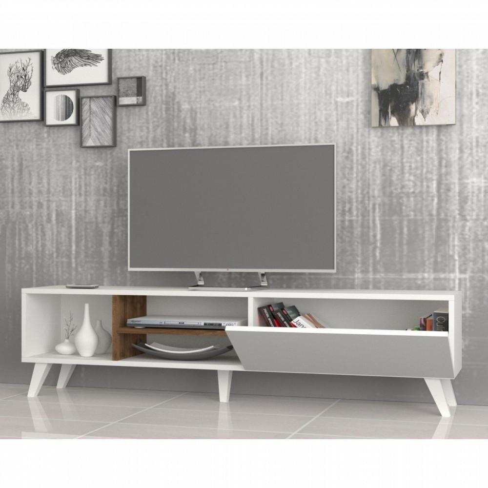 تجارة بلا حدود طاولة تلفاز خشبية لون أبيض وبني بمساحة إضافية للتخزين