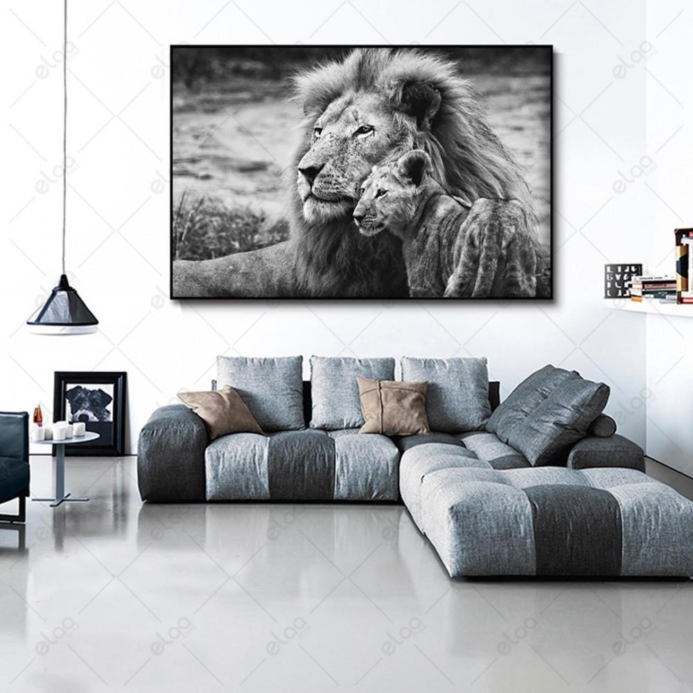 لوحة جدارية منظر طبيعي  أسد وشبل أسود وأبيض