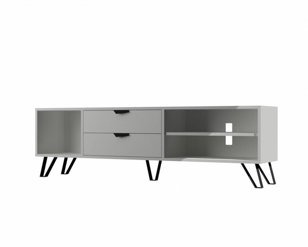 تجارة بلا حدود طاولة تلفاز خشبية بيضاء بتصميم يتناسب مع الموضة