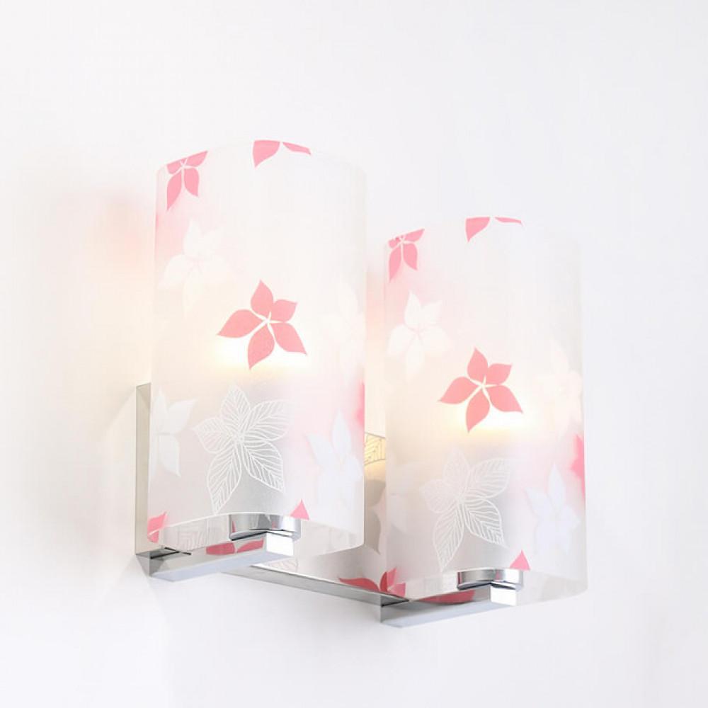 لمبة جدارية داخلية بزجاج مزخرف بورود - فانوس
