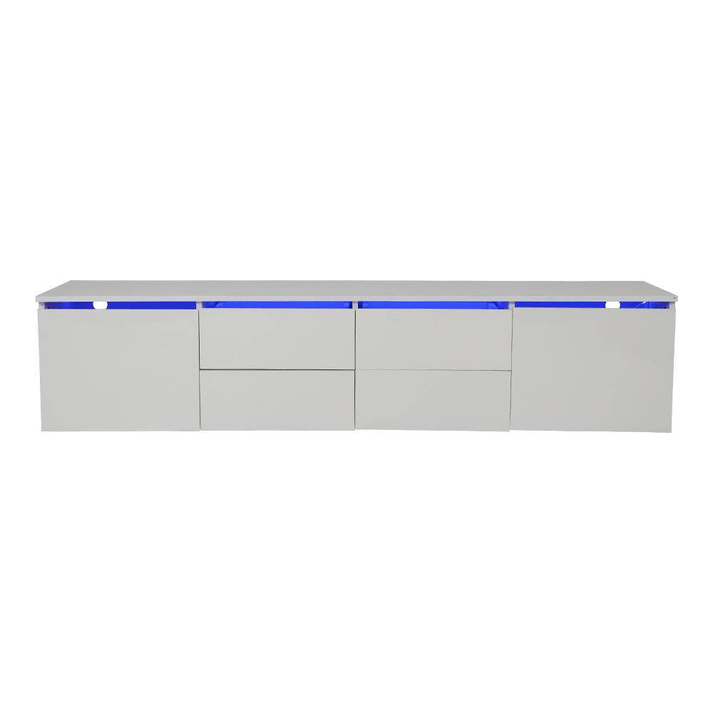 تجارة بلا حدود تقدم طاولة تلفاز خشبية بخزانات عدد 6 مع إضاءة داخلية