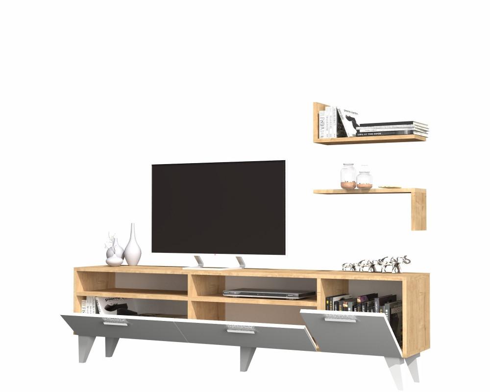متجر مواسم طاولة تلفاز 3 قطع مزودة برفوف إضافة إلى وحدات تخزين