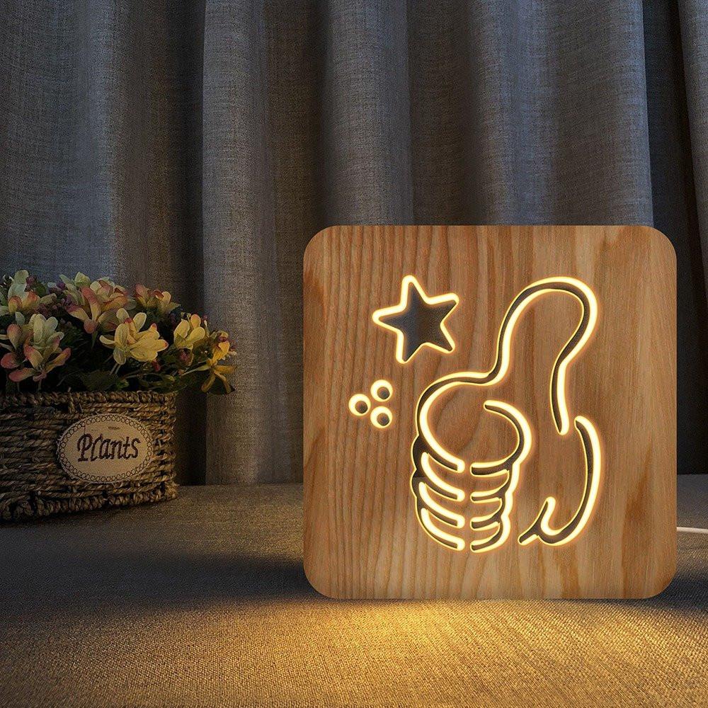 مواسم تحفة فنية مضيئة على شكل لايك بتصميم ثلاثي الأبعاد لون خشبي