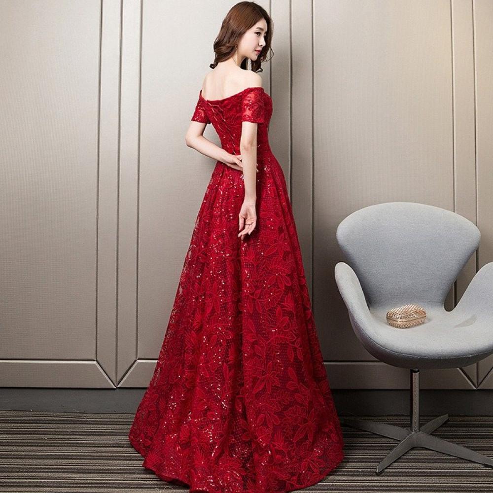 فستان سهرة أحمر من الدانتيل - متجر تواجد
