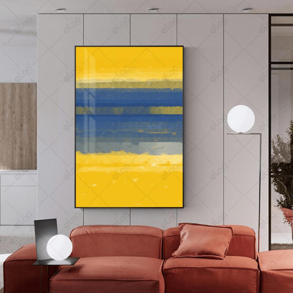 لوحة فن تجريدي بدرجات الالوان الازرق والاصفر
