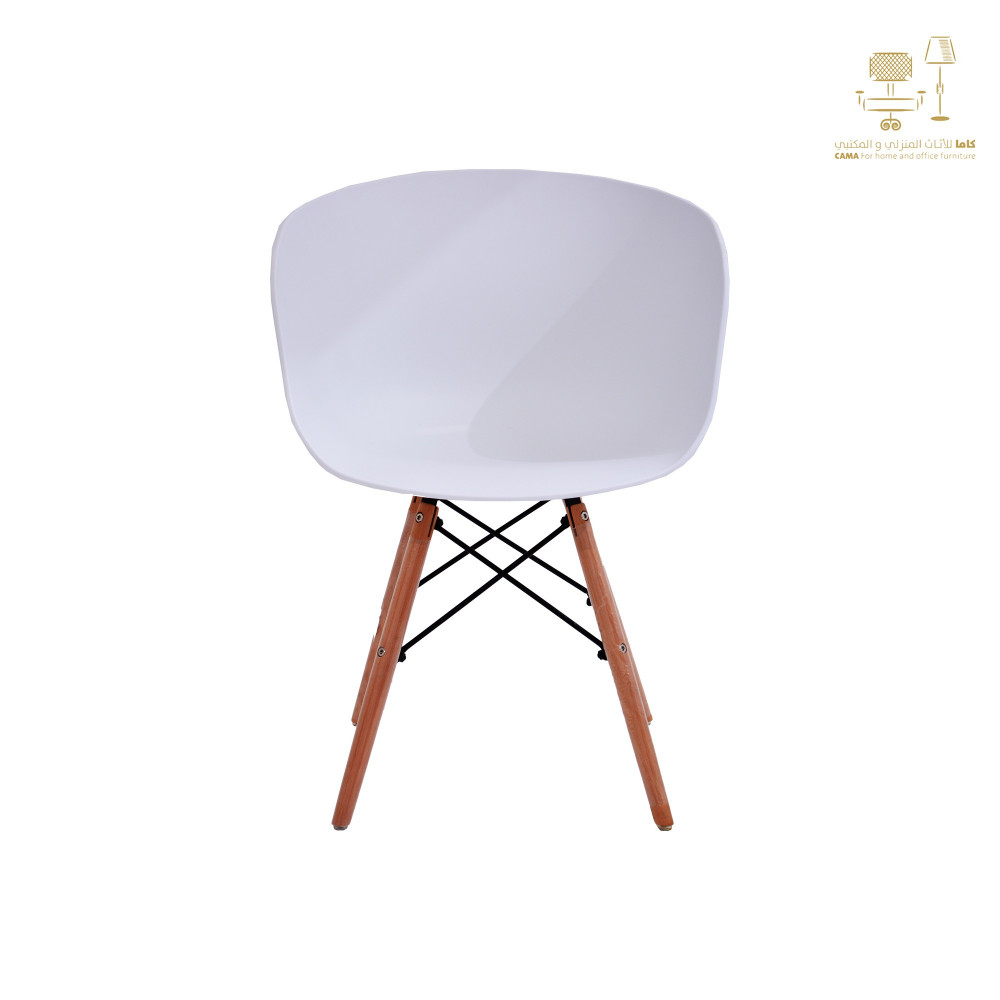 كرسي كاما فيبر ابيض ارجل خشب C-D-815YM WHITE