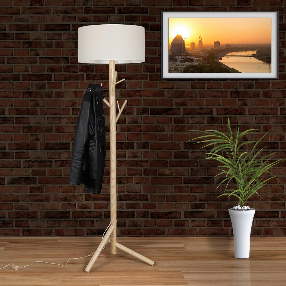 صور أباجورة انارة أرضية بطاولة صغيرة موديل لوج قاعدة خشبية وغطاء كتان