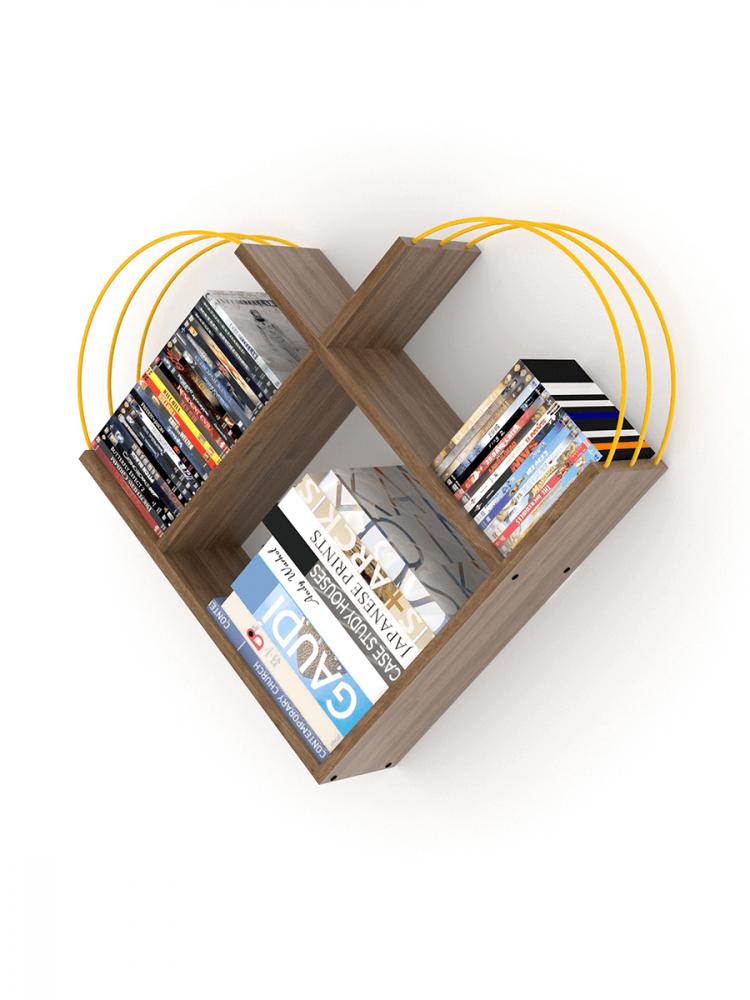 أفخم مكتبات الكتب خزانة كتب صغيرة لون البني بقضبان صفراء شكل عصري أنيق