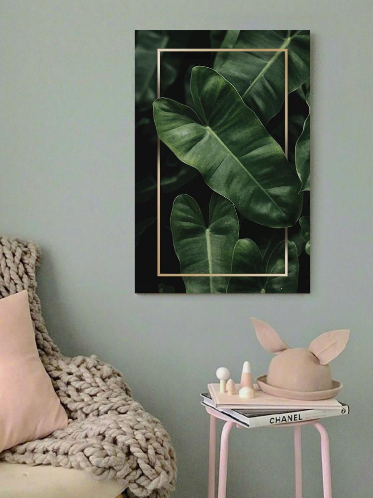 لوحة أوراق شجر استوائية خشب ام دي اف مقاس 40x60 سنتيمتر