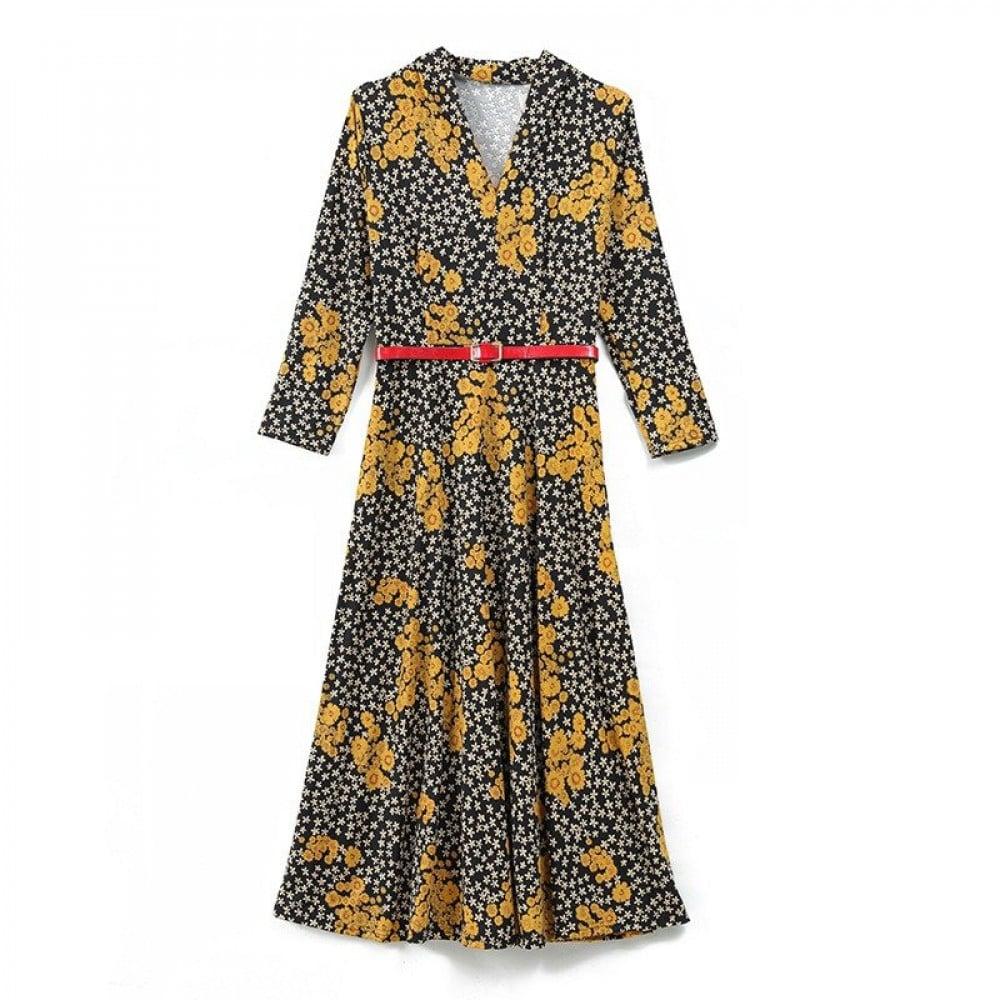 فستان خريفي بقصة ضيقة طويل ستايل كوري