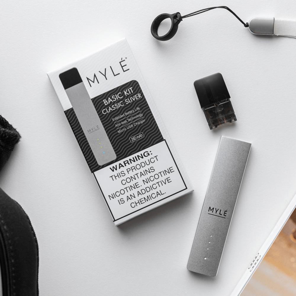 سحبة سيجارة مايلي ماجناتيك الاصدار الرابع فضي  MYLE Magnetic 4 Kit