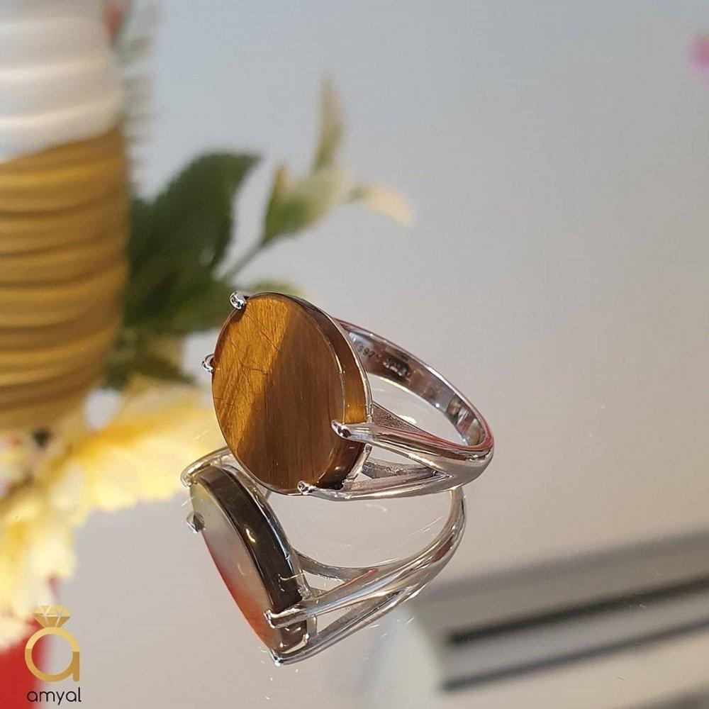خاتم ملكي بحجر عقيق عين النمر