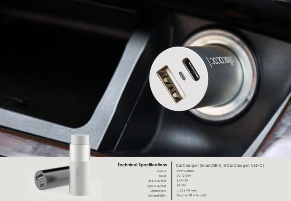 وصف شاحن سيارة ألوكاكوك منفذين Type C - USB قوي سريع شحن لون ابيض