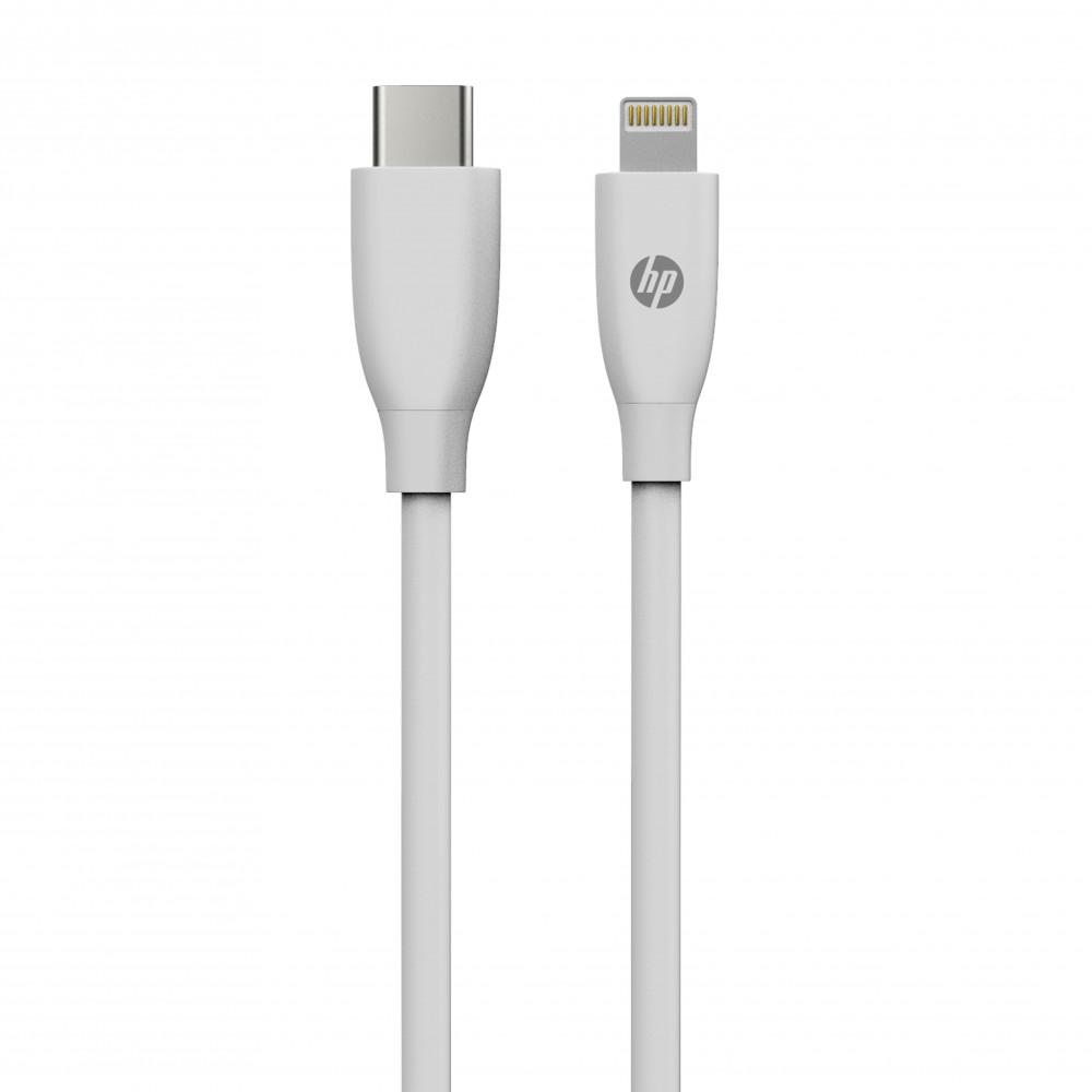 كيبل شحن اتش بي MF102 USB للايفون لون ابيض ا متر