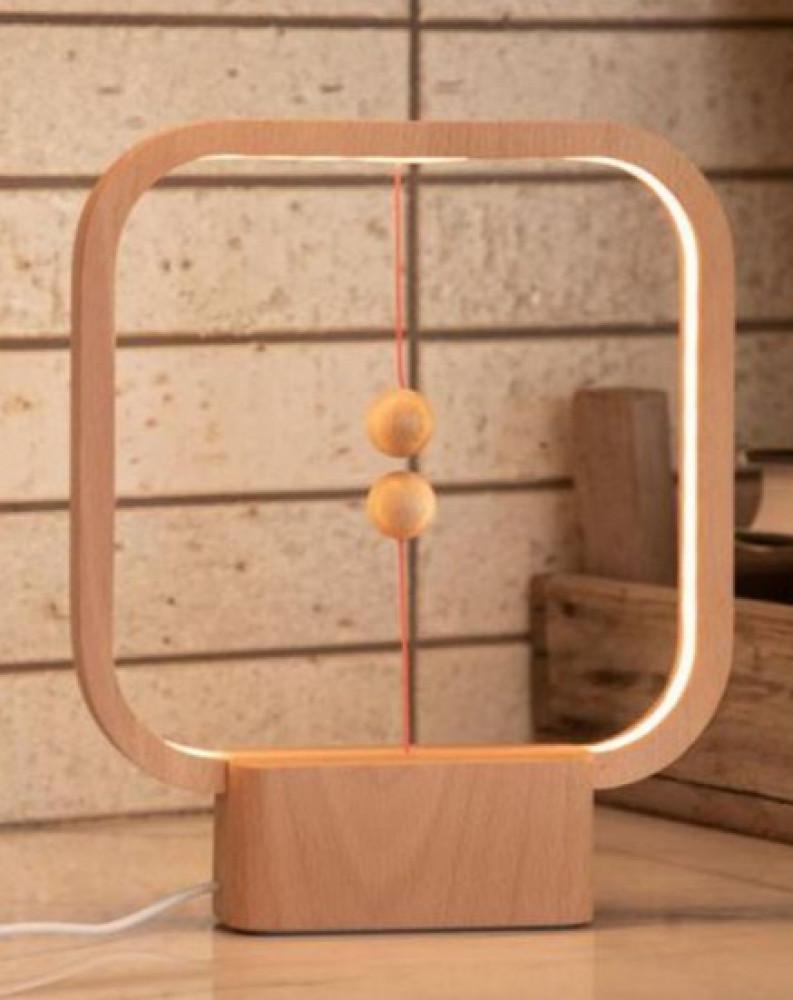 مصباح توازن ذكي خشبي مربع الشكل