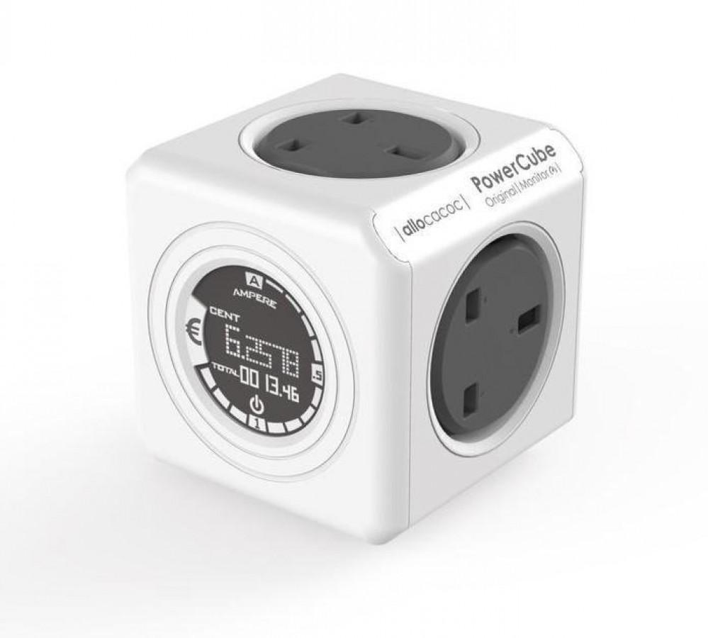 فيشة كهربية مكعبة الشكل بثلاث منافذ طاقة و اخرى ساعة مراقبة للاستهلاك