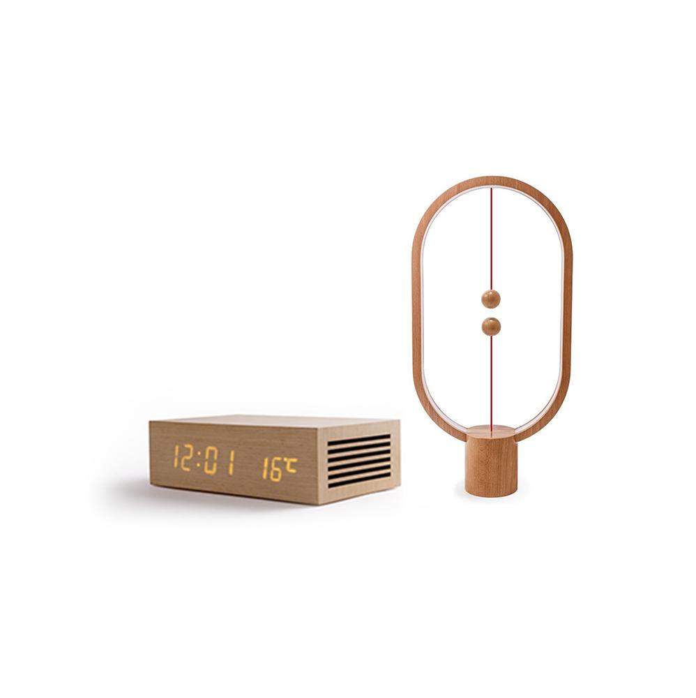 عرض الباكيج الخشبي هوم تايم سماعه بلوتوث مع مصباح التوازن الذكي