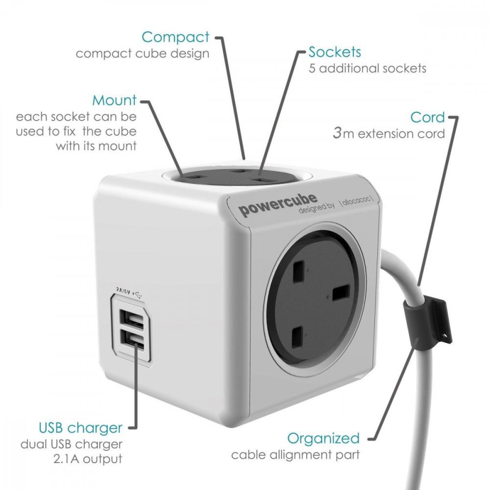 صورة تفصيلية توضيحية مكعب الطاقة الذكي ألوكاكوك ومنافذ USB و الكهرباء