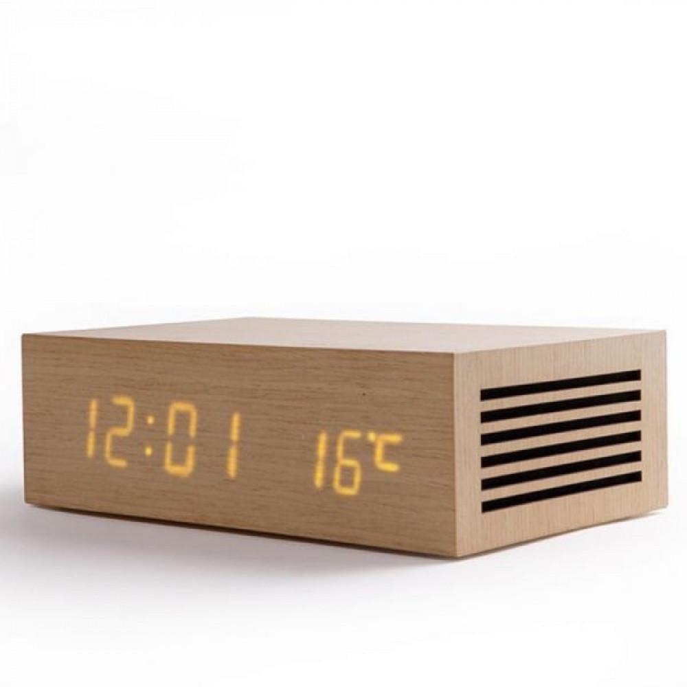 قاعدة شحن لاسلكي خشبي لون بني فاتح مع سماعة بلوتوث و ساعة منبه