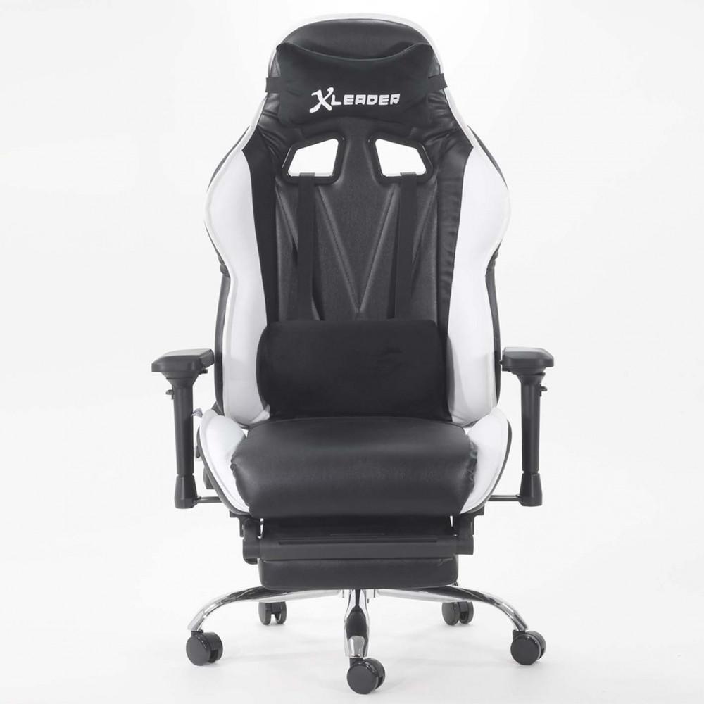 568-كرسي ألعاب قيمنق ليدر من الجلد الأسود X الأبيض