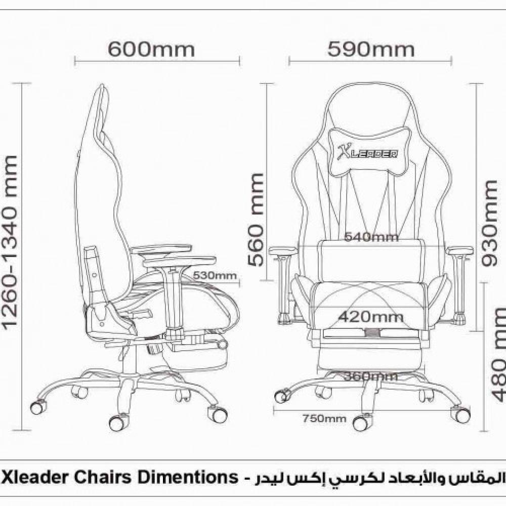 555-كرسي ألعاب قيمنق ليدر من الجلد الأسود X أحمر