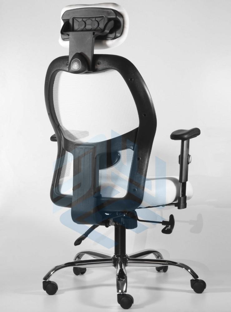590-كرسي مكتب دوار شبك مع مسند للرأس من إلـ ميش الأبيض