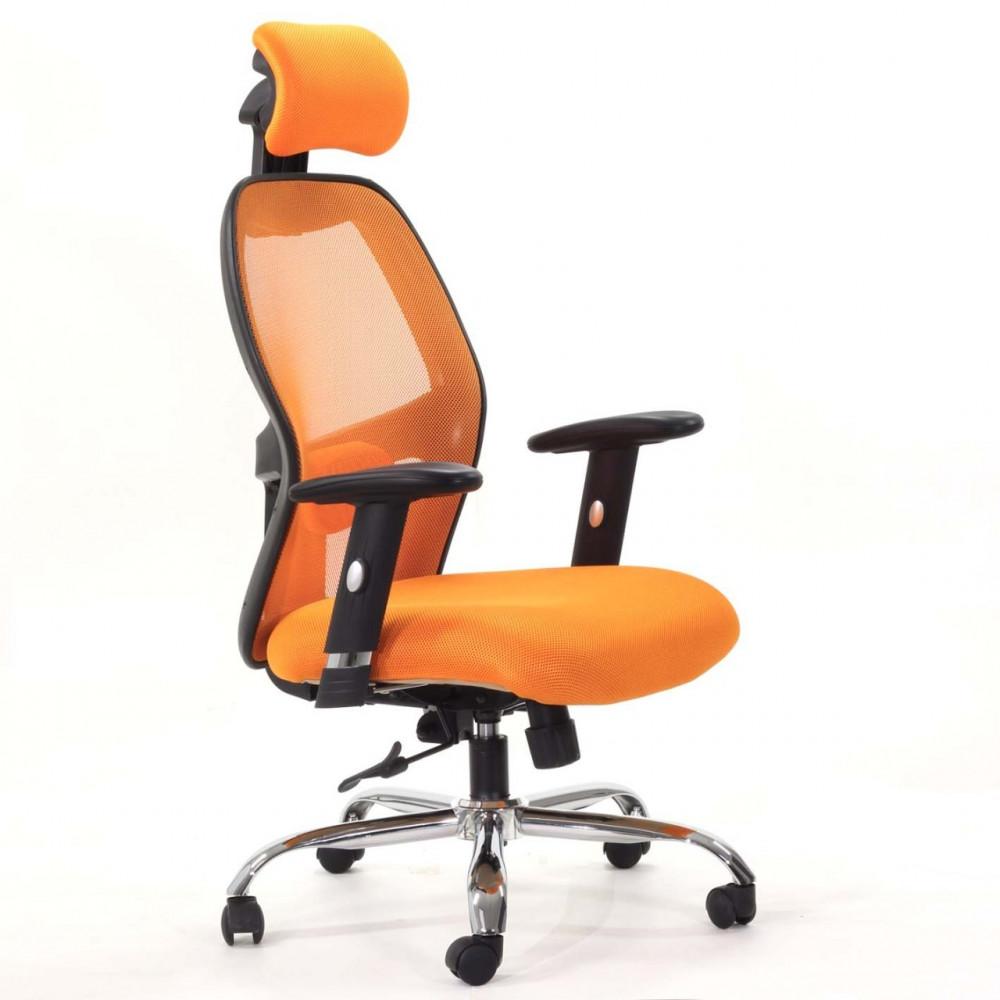 679-كرسي مكتب متحرك دوار شبك  مع مسند للرأس  من إلـ ميش برتقالي
